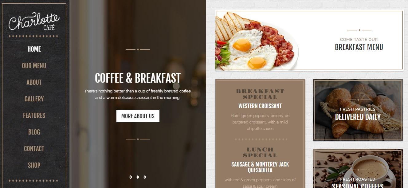 Mẫu website cho những món ăn nhẹ cùng cà phê.