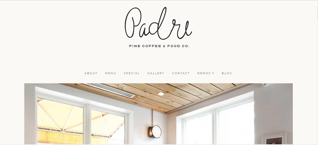 Mẫu website cho nhà hàng Padre