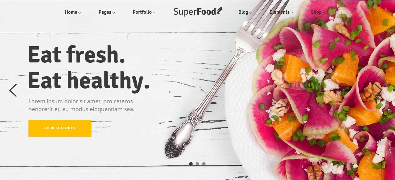 Mẫu website thực phẩm tốt cho sức khỏe.