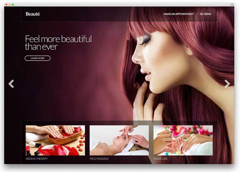 Giao diện của website Beaute