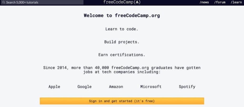 Code web free trên Free Code Camp