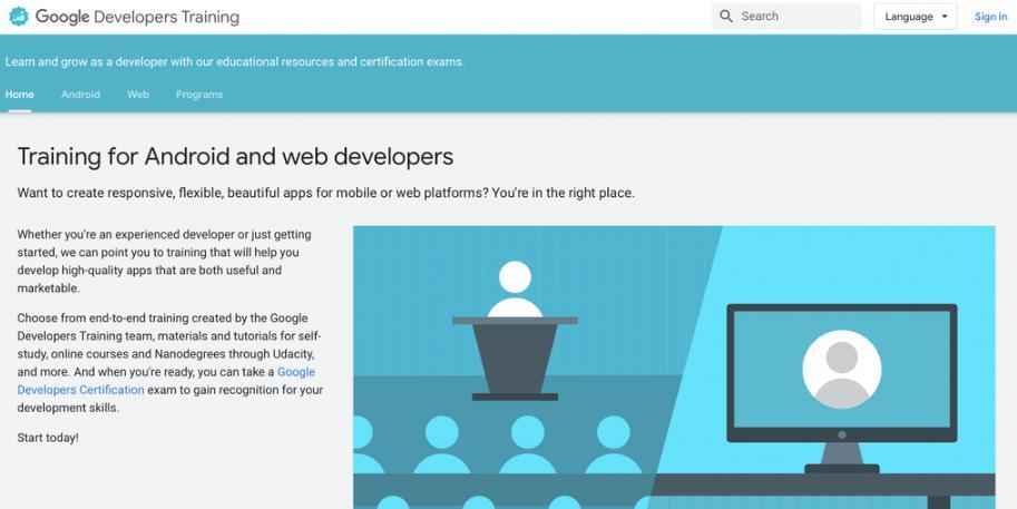 Học lập trình trang web Google Android Training