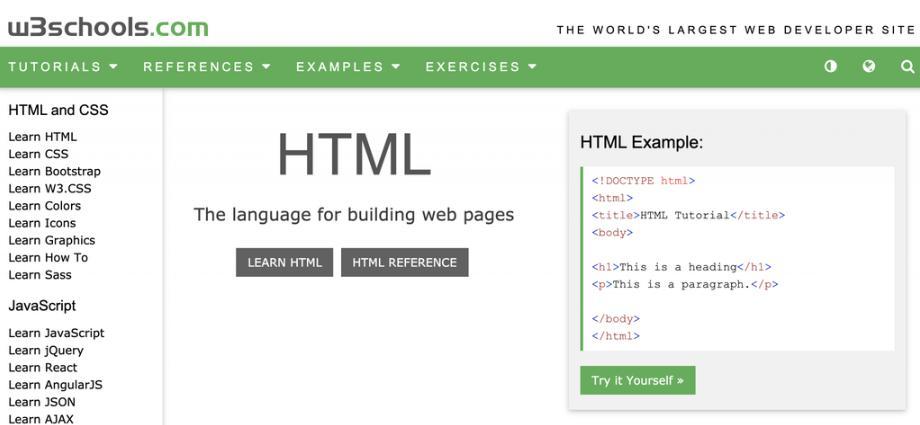 Khóa học lập trình trực tuyến W3Schools