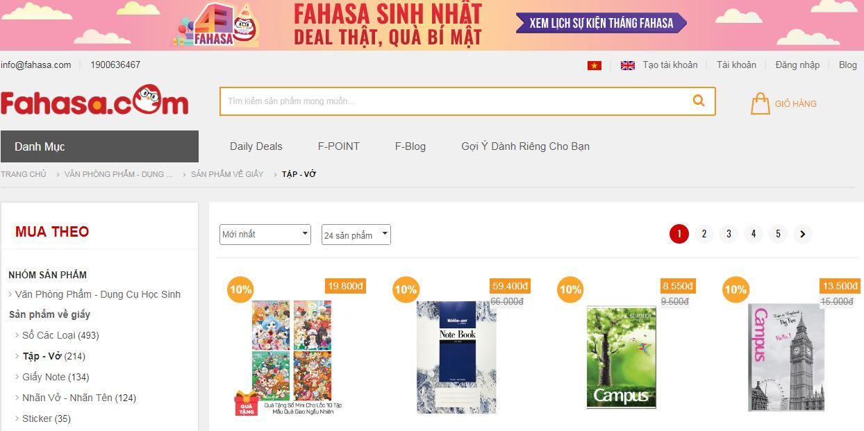 Website bán tập vở, đồ dùng học sinh - Fahasa