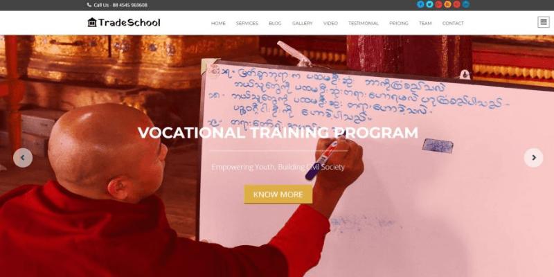 mẫu trang web tradeschool